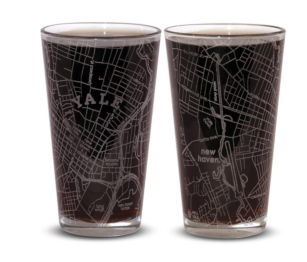 Set of Two Etched Glasses
